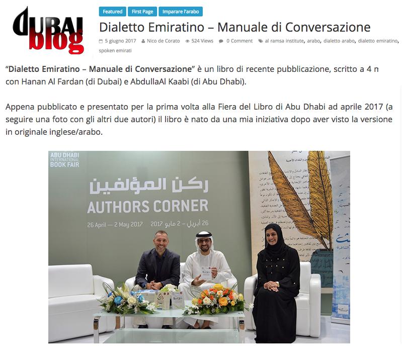 Rassegna Stampa DIaletto Emiratino DubaiBlog